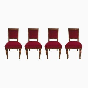 Ungarische Art Deco Stühle, 1920er, 4er Set