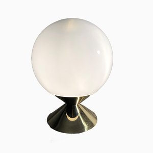 Mid-Century Italian Modern Table Lamp with Opaline Glass Globe, 1970s