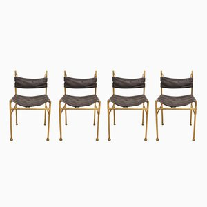 Brass and Leather Chairs by Luciano Frigerio, 1970s, Set of 4