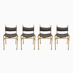 Stühle mit Gestell aus Messing & Sitz aus Leder von Luciano Frigerio, 1970er, 4er Set