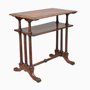 Tavolino di servizio in radica di noce a due ripiani, fine XIX secolo