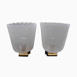 Apliques Mid-Century de latón y cristal de Murano de Barovier & Toso. Juego de 2