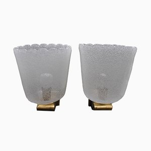 Mid-Century Brass and Murano Glass Sconces from Barovier & Toso, Set of 2