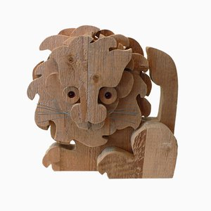 Wooden Lion Sculpture by Orvieto Michelangeli, 1980s