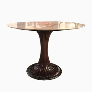 Italian Mahogany & Marble Dining Table by Vittorio Dassi, 1940s