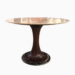 Mesa de comedor italiana de caoba y mármol de Vittorio Dassi, años 40