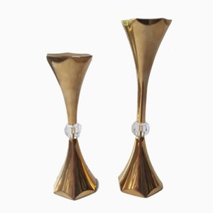 Danish Gilded Candleholders by Hugo Asmussen, 1960s, Set of 2