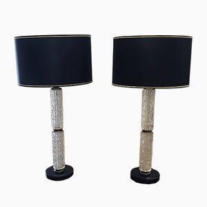 Italian Crystal & Black Marble Table Lamps, 1960s, Set of 2