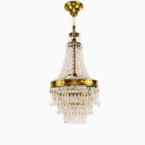 Lámpara de araña Art Déco de latón y cristal