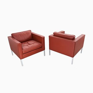 Mid-Century 905 Stone Red Leather Lounge Chairs by Kho Liang Ie for Artifort, Set of 2