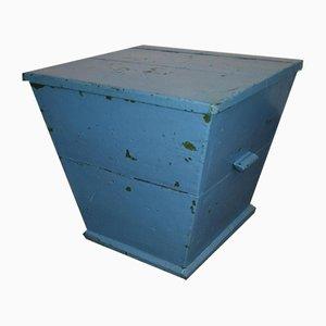 Caja o taburete vintage de madera azul, años 60
