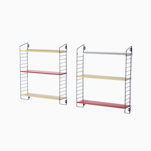Mid-Century Pocket Series Metal Shelves by A. D. Dekker for Tomado, Set of 2