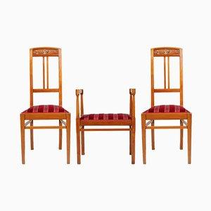 Antike italienische Beistellstühle mit Hocker im Jugendstil