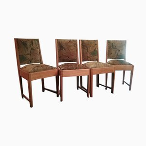 Oak & Velvet Dining Chairs, 1960s, Set of 4