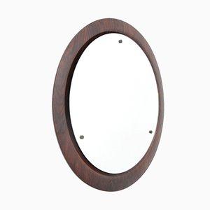 Halbrunder italienischer Mid-Century Spiegel mit Rahmen aus Schichtholz von Mac, 1960er