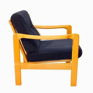 Scandinavian Armchair with Navy Velvet Fabric, 1950s