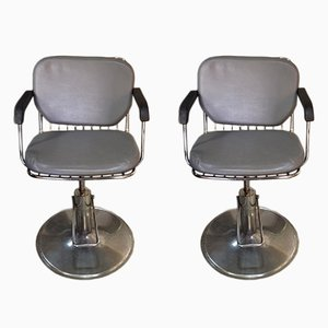 Grey Vintage Barber Chairs, Set of 2