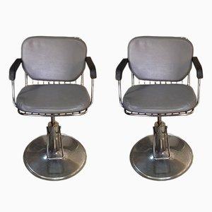 Sillas de barbero vintage grises. Juego de 2
