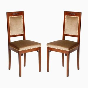 Antique Art Nouveau Walnut Chairs from Wiener Werkstätte, Set of 2