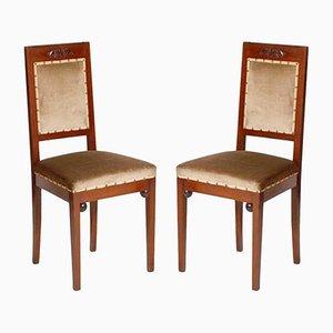 Chaises Antiques Art Nouveau en Noyer de Wiener Werkstätte, Set de 2