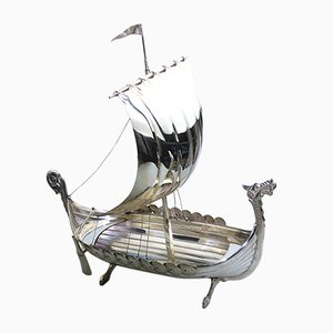 Silver Plated Viking Longboat Centrepiece from Astral, 1920s