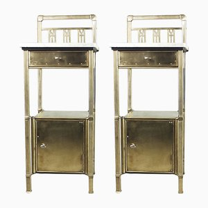 Antique Brass Art Deco Nightstands with Marble Tops by Konrad, Jarnuszkiewicz i S-ka, 1900s, Set of 2