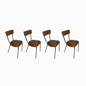 Chaises de Salle à Manger en Formica et Chrome, 1960s, Set de 4