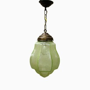 Green Art Deco Pendant Light with Crackled Glass, 1930s