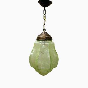 Lampe à Suspension Verte Art Déco avec Verre Craquelé, 1930s