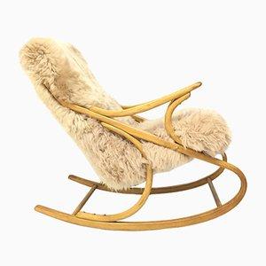 Sedia a dondolo vintage in legno curvato e pelle di montone di TON