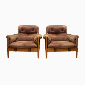 Brazilian Oak & Leather Lounge Chairs, 1970s, Set of 2