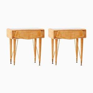 Tables de Chevet en Verre Gris et Érable, Italie, 1950s, Set de 2