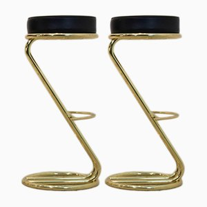 Brass & Leather Bar Stools, 1980s, Set of 2