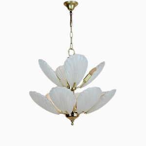 French Brass & Murano Glass Chandelier, 1970s