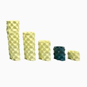 Gelbes & dunkelgrünes Ø Wave Set von Mari JJ Design