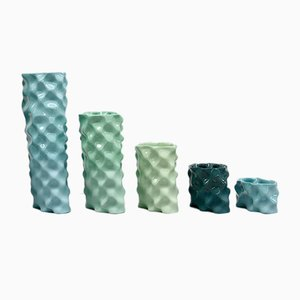 Cyan, Celadon, Green & Dark Green Ø Wave Set by Mari JJ Design