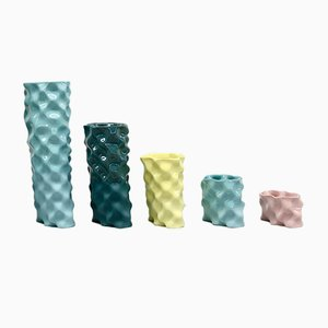 Cyan, Dark Green, Yellow & Pink Ø Wave Set by Mari JJ Design