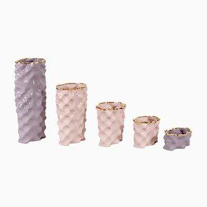 Juego de jarrones Ø Wave en malva, rosa y dorado de Mari JJ Design