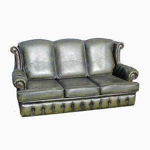 3-Sitzer Chesterfield Sofa aus grünem Leder, 1960er