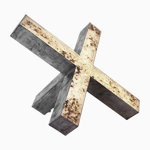 Kreuz mit Eschenholz Aluminium Lichtskulptur von early light