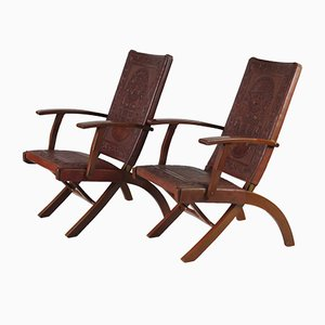 Mid-Century Folding Chairs by Angel I. Pazmino for Muebles de Estilo, 1960s, Set of 2