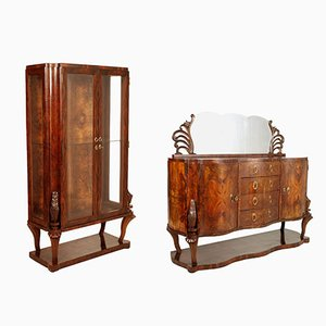 Art Deco Burl Walnut Credenza & Display Cabinet from Testolini & Salviati, 1920s