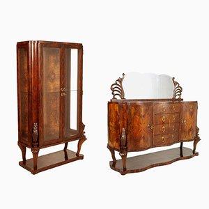 Art Deco Burl Walnut Credenza & Display Cabinet from Testolini & Salviati, 1920s
