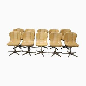 Sedie vintage girevoli in metallo e pelle, anni '60, set di 10