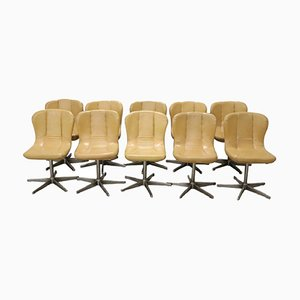 Vintage Metal and Leather Swivel Chairs, 1960s, Set of 10