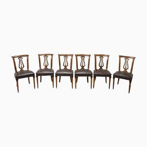 Sedie vintage in legno di noce intagliato, anni '50, set di 6