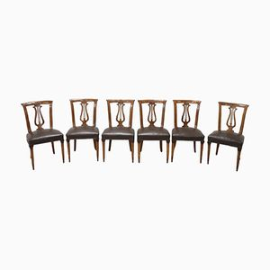 Vintage Carved Walnut Chairs, 1950s, Set of 6