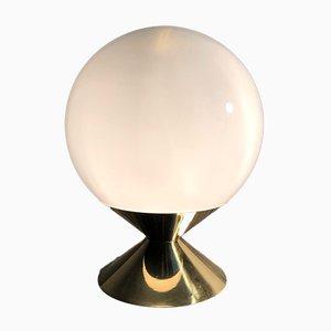 Lampada da tavolo grande sferica in vetro opalino, Italia, anni '70