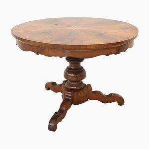 Runder antiker Tisch aus Nussholz mit Intarsien, 1850er