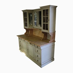 Large Vintage Beech & Marble Cabinet with Mirror, 1920s